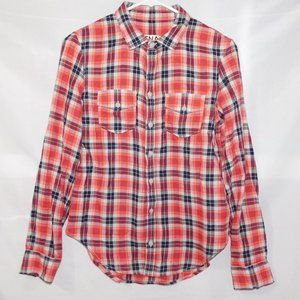 TNA Womens XS Red Blue Plaid Button Front Shirt
